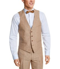 bar iii men's slim-fit tan pinstripe linen suit separate vest, created for macy's