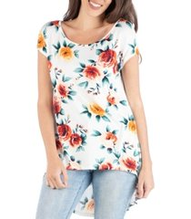 24seven comfort apparel tunic top with high low hem and floral print