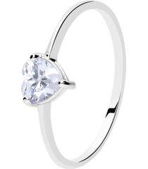 anello in oro bianco con zircone a cuore per donna