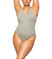 plus size women's skims stretch rib scoop neck bodysuit, size 4x/5x - green