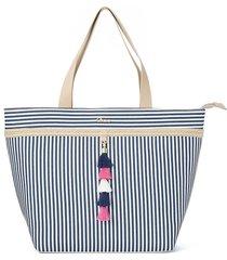 shopping bag tassel listras azuis cs club azul - tricae