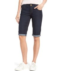 women's wit & wisdom ab-solution denim bermuda shorts, size 0 - blue (regular & petite) (nordstrom exclusive)