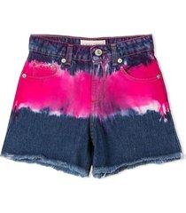 alberta ferretti blue and fuchsia cotton-denim shorts