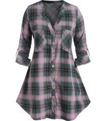 plus size plaid dual pocket rolled up sleeve tunic blouse