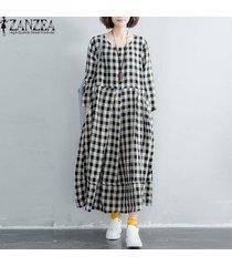 zanzea algodón de lino de las mujeres del cuello de o compruebe bolsillos laterales a cuadros de manga larga del vestido largo -blanco