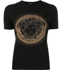versace medusa head studded t-shirt - black