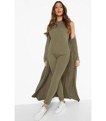 zwangerschap geribbelde getailleerde jumpsuit met halter neck en strik, light khaki