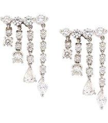 anita ko 18kt white gold small rain drop diamond earrings - silver