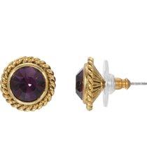 2028 women's gold tone purple crystal round stud earring