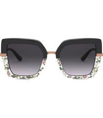 dolce & gabbana eyewear printed square-frame sunglasses - black