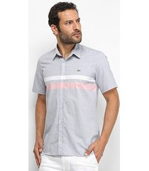 camisa lacoste listras bicolor manga curta masculina