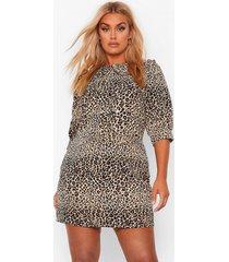 plus geweven luipaardprint blouse jurk met kraag, brown
