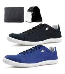 kit 2 pares sapatenis neway sw masculino preto + azul + cinto + carteira