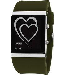 reloj con forma de corazón para hombres y mujeres-verde