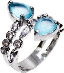 anel delicado gotas topázio toda cravejada cristais em prata 925