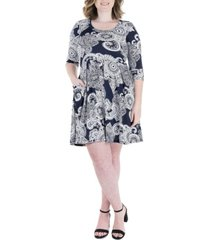 plus size paisley elbow sleeve pocket fit and flare dress
