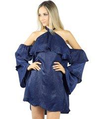 vestido liage curto liso cetim azul marinho/navy