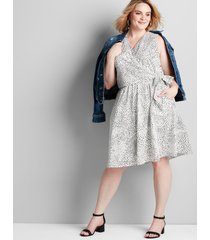 lane bryant women's printed side-tie fit & flare dress 12 dotted patchwork
