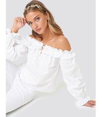 na-kd boho frill neck balloon sleeve blouse - white