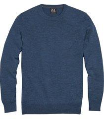 jos. a. bank traveler men's jos. a. banks traveler blue heather crew neck merino sweater - size: xxl
