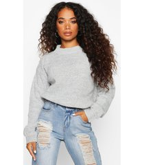 petite waffle knit marl knitted sweater, grey