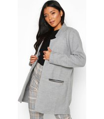zip pocket wool look coat, light grey