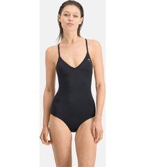 puma swim v-neck crossback badpak voor dames, zwart, maat s