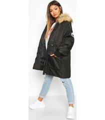 faux fur trim oversized parka, black