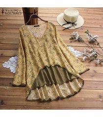 zanzea playa de las mujeres tapas florales flojo señoras de la blusa de manga larga de la camiseta del tamaño extra grande -amarillo