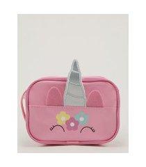 bolsa infantil transversal unicórnio com orelhas rosa