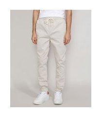 calça de sarja masculina jogger cinza mescla