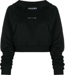 1017 alyx 9sm cropped hooded sweatshirt - black