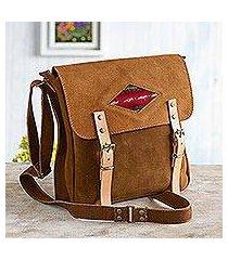 suede messenger bag, 'sepia business' (peru)