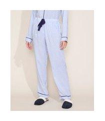 calça de pijama feminina estampada xadrez vichy com vivo contrastante e laço azul