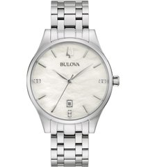 bulova women's classic diamond-accent stainless steel bracelet watch 36mm