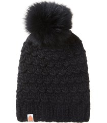 women's sh*t that i knit the gunn merino wool beanie with removable faux fur pompom - black