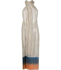 emilio pucci fringed sarong beach dress - neutrals