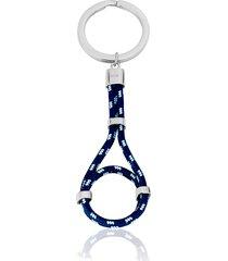 portachiavi nodo in corda e acciaio blu, azzurro e bianco per uomo