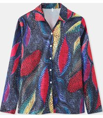 camicetta casual da donna a maniche lunghe con bottoni stampati con foglie colorate