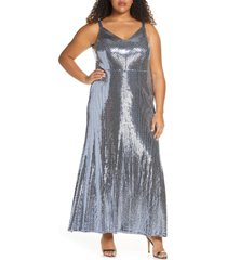plus size women's morgan & co. mirror sequin trumpet gown