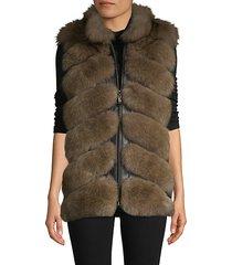 chevron dyed fox fur & leather vest
