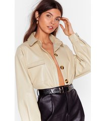 womens faux leather a dull moment relaxed shirt - cream