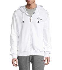roberto cavalli sport men's zip-front logo hoodie - white - size xl