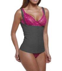 cinta modeladora emborrachada feminina body corselet esbelt - preto - feminino - dafiti