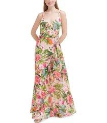eliza j petite floral-print chiffon gown
