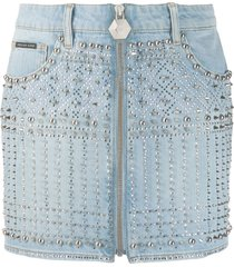 philipp plein studded mini skirt - blue