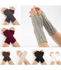 21cm maglia da donna con maniche lunghe senza dita con lavorazione a maglia jacquard inverno calda tiepida guanti