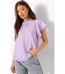 blouse met stippen en wijde mouwen, lilac
