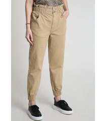 calça de sarja feminina clochard jogger cintura super alta com bolsos bege