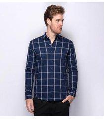 camisa social slim teodoro xadrez alfred algodão masculina